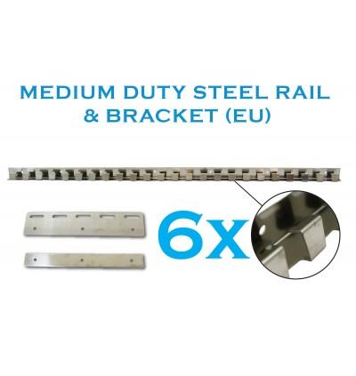 Standard Size 1m x 2.7m PVC Curtain with Medium Duty EU Rail with 6 Hangers