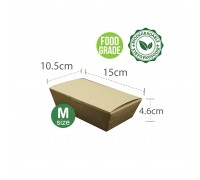 Brown Paper Lunch Box (M) (Food Grade) - 100Pcs x 5Pkt