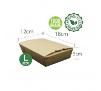 Brown Paper Lunch Box (L) (Food Grade) - 50Pcs x 8Pkt