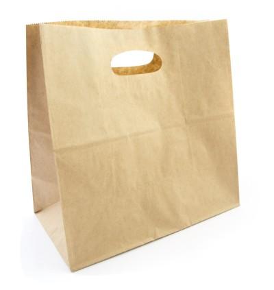 "Paper Bag With Hole Handle (11"" X 11"" X 6"") - 500PCS"
